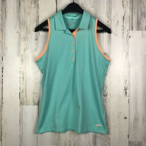 Nike Golf Dry Fit Collared Tank Top Blue & Orange